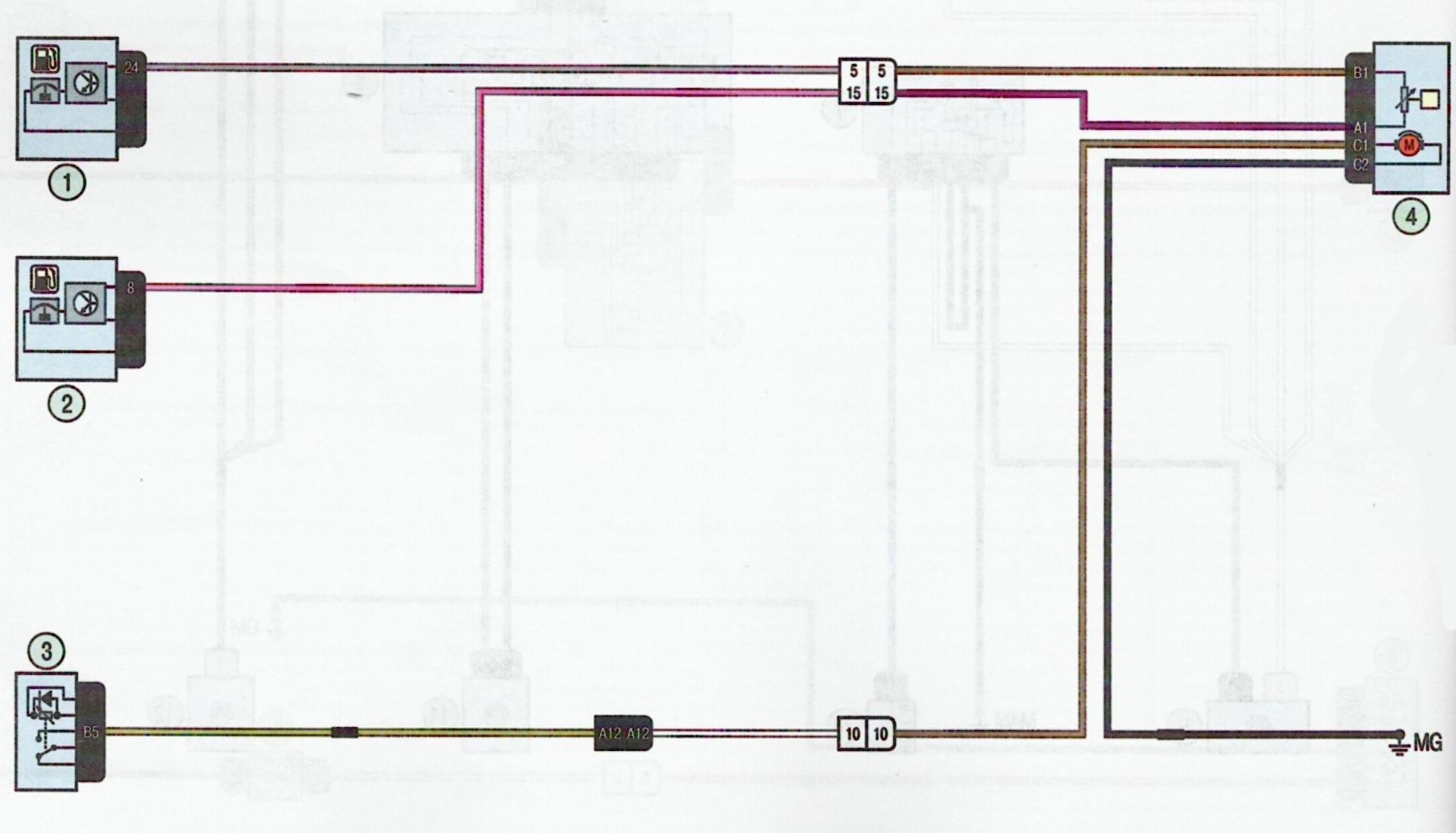 Электрическая схема топливный насос Лада Ларгус