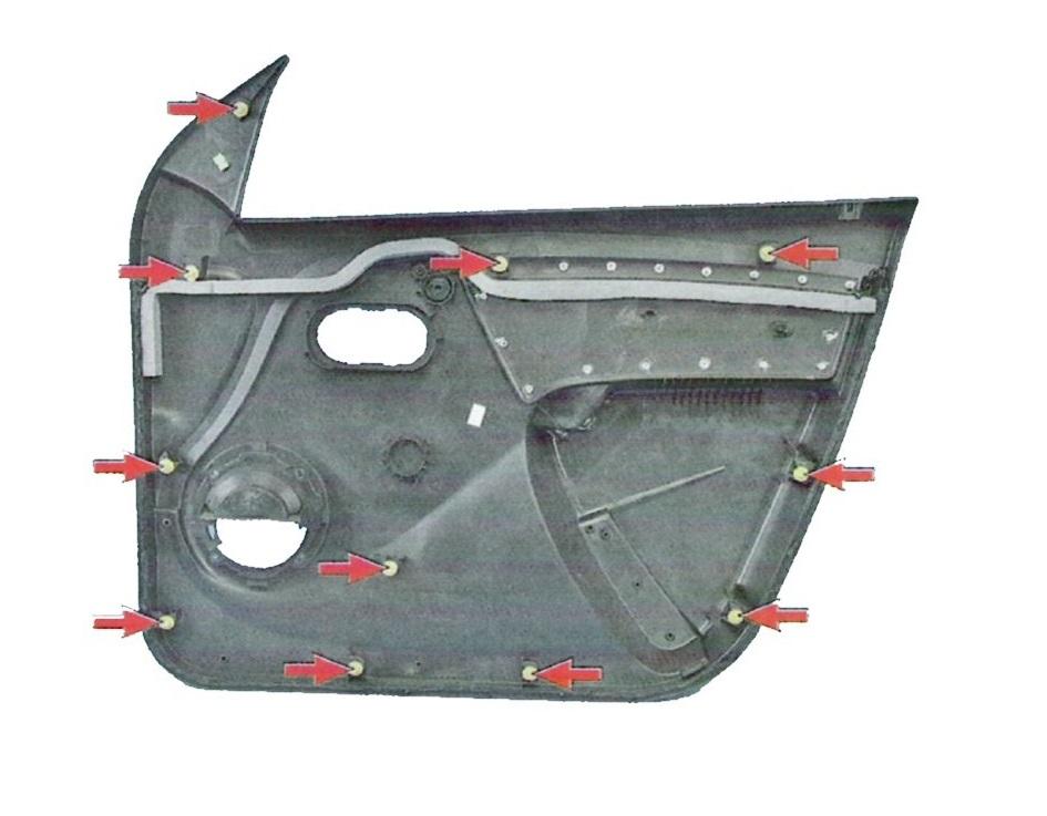 Схема расположения крепежных клипс передней дверной карты Лада Ларгус